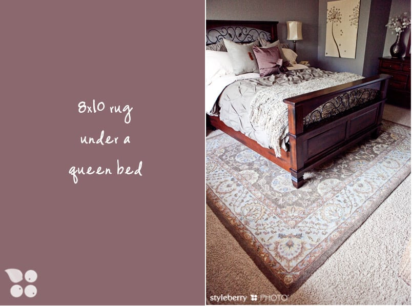 how to place a rug under a bed design tip styleberry blog. Black Bedroom Furniture Sets. Home Design Ideas
